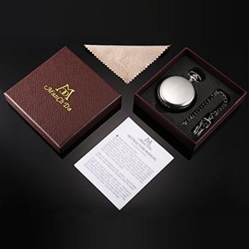 Taschenuhr - ManChDa Unisex Taschenuhr mit Kette Analog Handaufzug Doppelscharnier Antik Graviert Römische (01.Silver with Gold) - 7