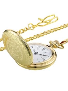 Vintage Taschenuhr Gold Stahl Herren Uhr mit Kette für Väter Tag - 1