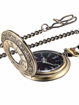 Vintage Taschenuhr Stahl Herrenuhr mit Kette Gold (Bronze) - 1