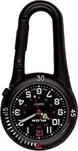 Klox schwarze Metall-Taschenuhr mit Karabinerbefestigung, schwarzes Zifferblatt, für Notdienst, Arzt, Krankenschwester, Unisex - 2