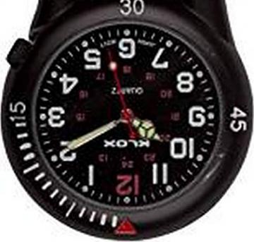 Klox schwarze Metall-Taschenuhr mit Karabinerbefestigung, schwarzes Zifferblatt, für Notdienst, Arzt, Krankenschwester, Unisex - 4