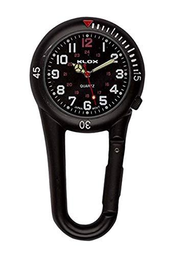 Klox schwarze Metall-Taschenuhr mit Karabinerbefestigung, schwarzes Zifferblatt, für Notdienst, Arzt, Krankenschwester, Unisex - 1
